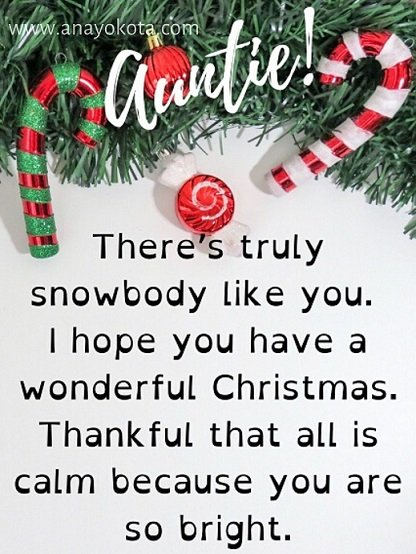 funny christmas card messages for auntie